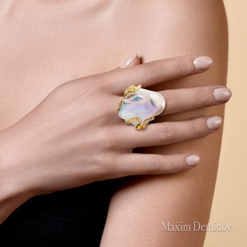 """Кольцо """"Чудное мгновение"""" Золото 750 желтое Жемчуг культивированный"""