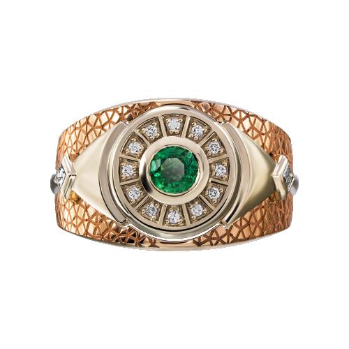 "Кольцо ""Данте"" Золото 585 красно-белое Изумруд"