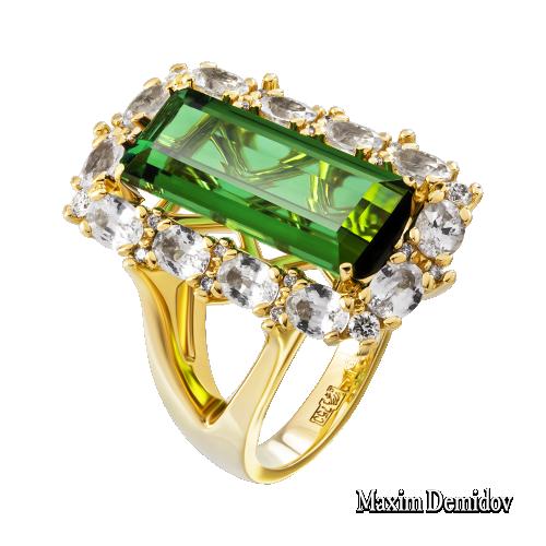 """Кольцо """"Зеленый луч"""" Золото 750 желтое Турмалин"""