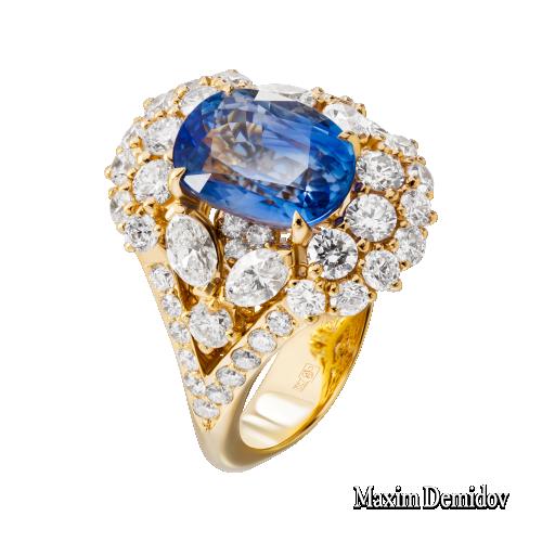 """Кольцо """"Classic Blue"""" Золото 750 желтое Сапфир"""