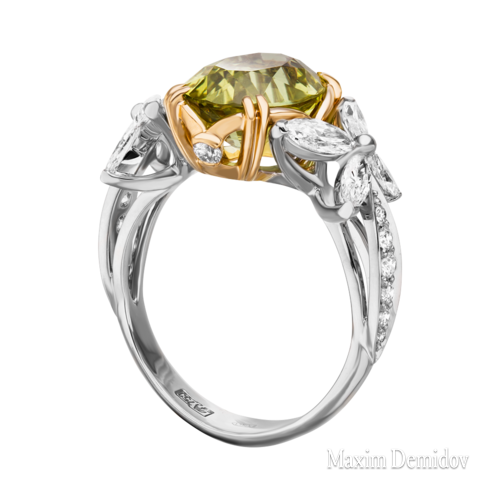 """Кольцо """"Империя солнца"""" Золото 750 белое Хризоберилл"""