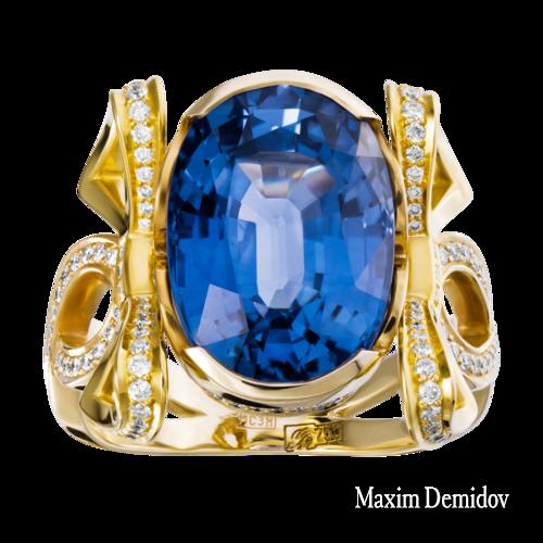 """Кольцо """"Версаль 3"""" Золото 750 желтое Сапфир"""