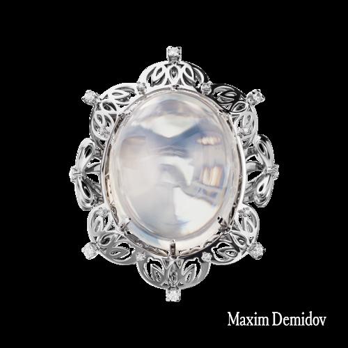 """Кольцо """"Одетта"""" Золото 750 белое Лунный камень"""