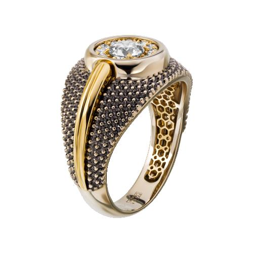 """Кольцо """"Отражение"""" Золото 750 желто-белое Бриллиант"""