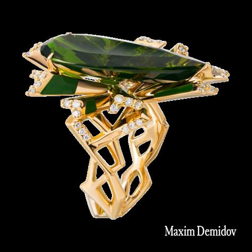 """Кольцо """"Матрикс"""" Золото 750 желтое Турмалин"""