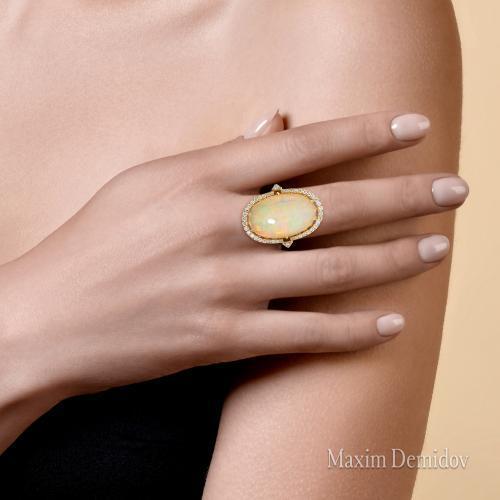 "Кольцо ""Бомонд"" Золото 750 желто-белое Опал"
