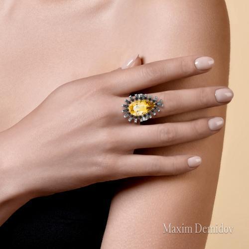"""Кольцо """"Огненный цветок"""" Золото 585 белое Гелиодор"""