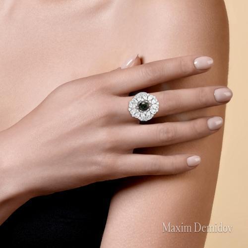 "Кольцо ""Одри"" Золото 585 белое Турмалин"