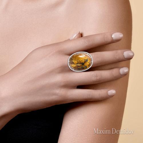 """Кольцо """"Ориентир"""" Золото 585 белое Кварц волосатик"""