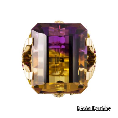 """Кольцо """"Круиз"""" Золото 750 желтое Аметрин"""