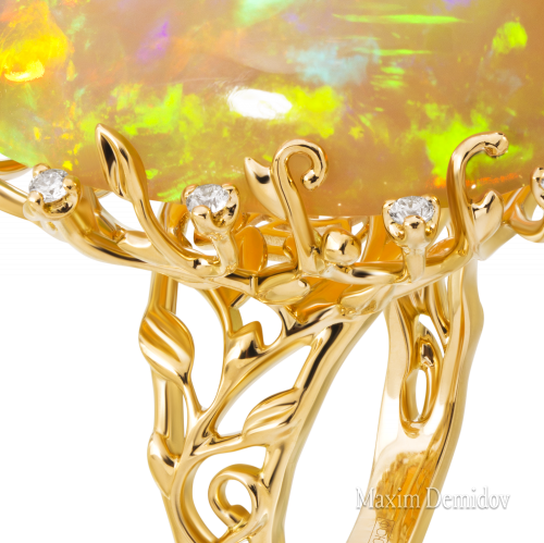 """Кольцо """"Восток-Запад"""" Золото 750 желтое Опал"""