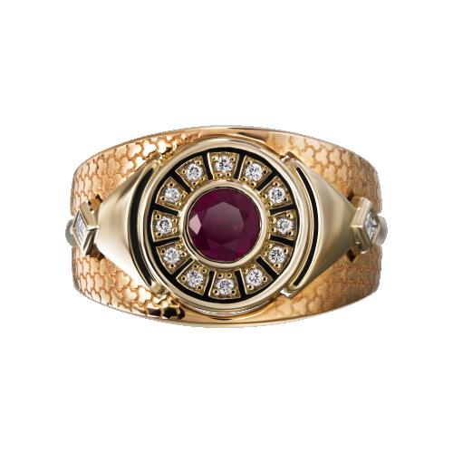 """Кольцо """"Авиньон"""" Золото 585 красно-белое Рубин"""