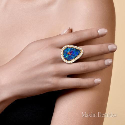 """Кольцо """"Отражение луны"""" Золото 750 желтое Опал дуплет"""